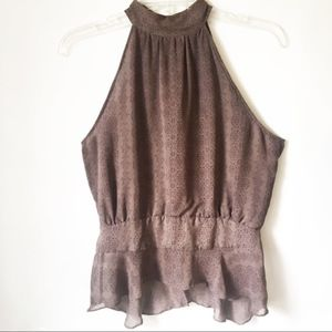 French Connection Halter Chiffon Mauve Top